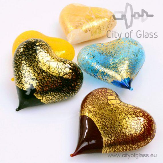 Murano glasobject Hart met bladgoud