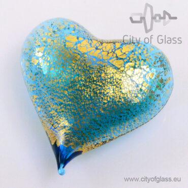 Murano glasobject Hart met bladgoud - blauw
