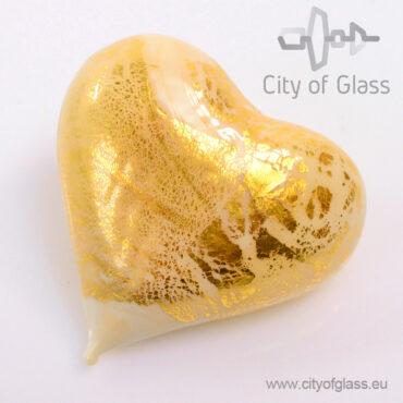 Murano glasobject Hart met bladgoud - wit
