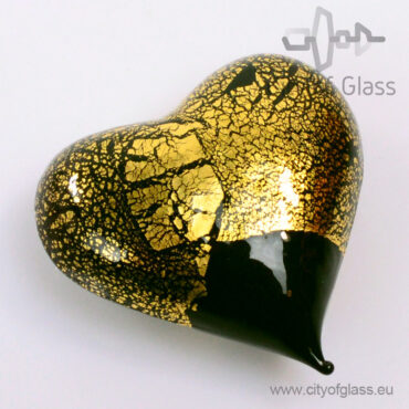 Murano glasobject Hart met bladgoud - zwart