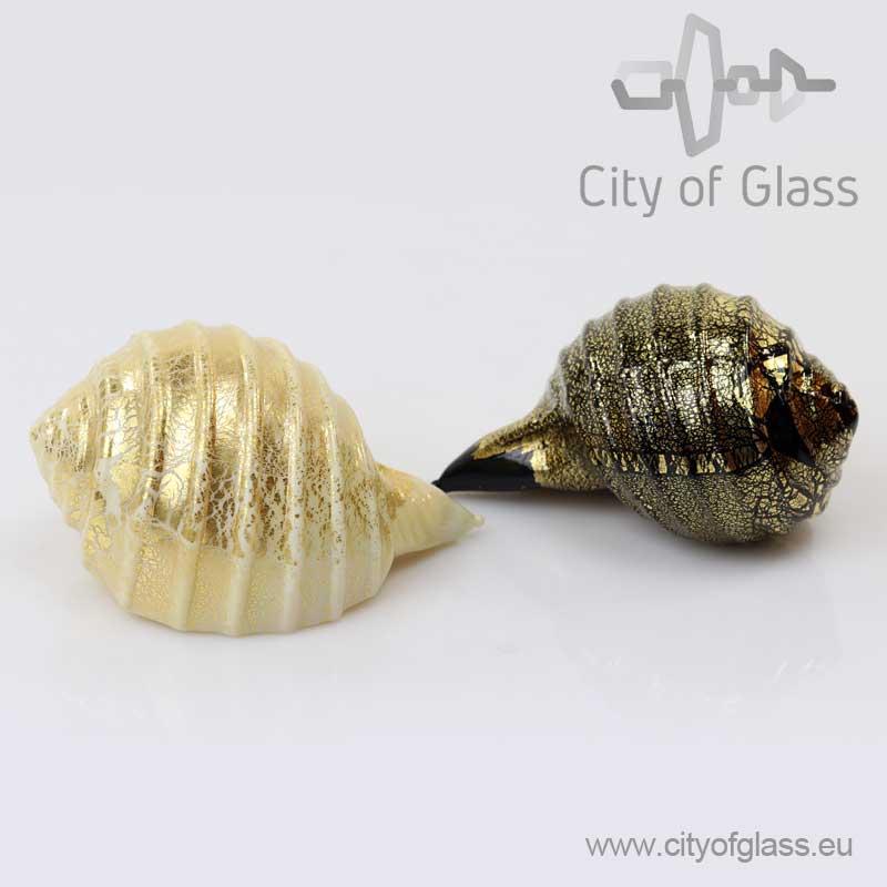 Schelp van Murano glas met bladgoud