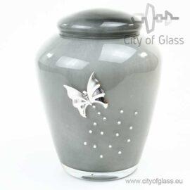 Glazen urn van Loranto met vlinder
