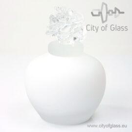 witte urn met transparante roos