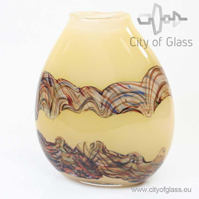 Bruine ovale glazen vaas van Loranto - 25 cm