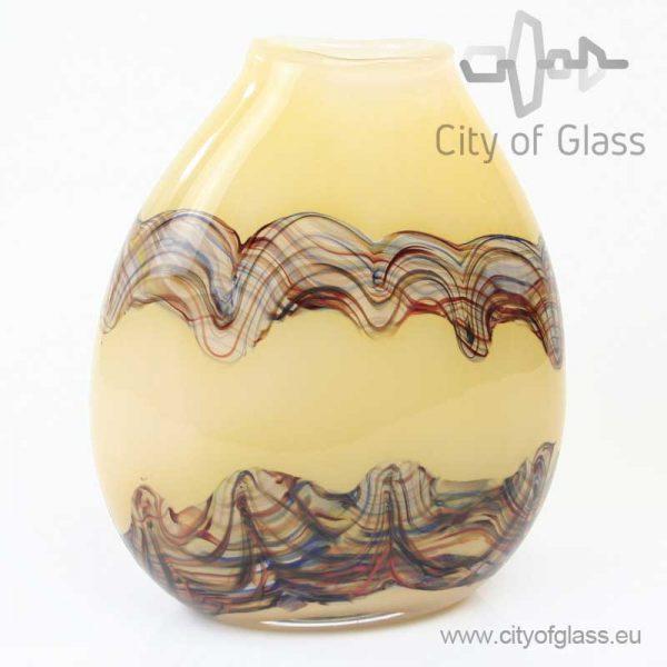 Bruine ovalen glazen vaas van Loranto
