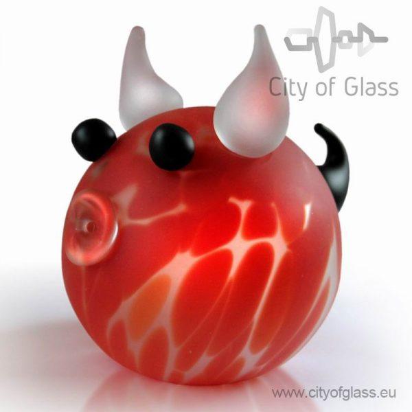 glazen koe van Ozzaro - rood
