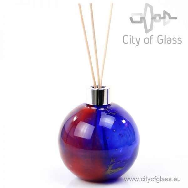 Glazen diffuser - bol rood/blauw