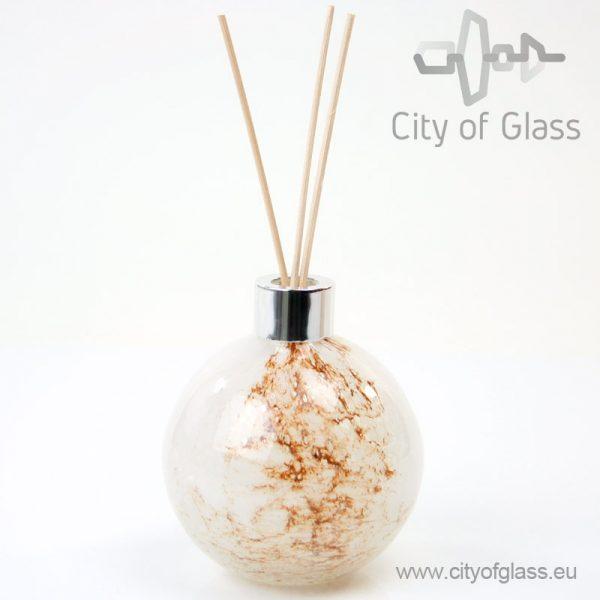 Glazen diffuser - bol wit/bruin