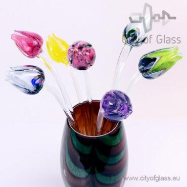Glazen tulp van Loranto - rood/veelkleurig