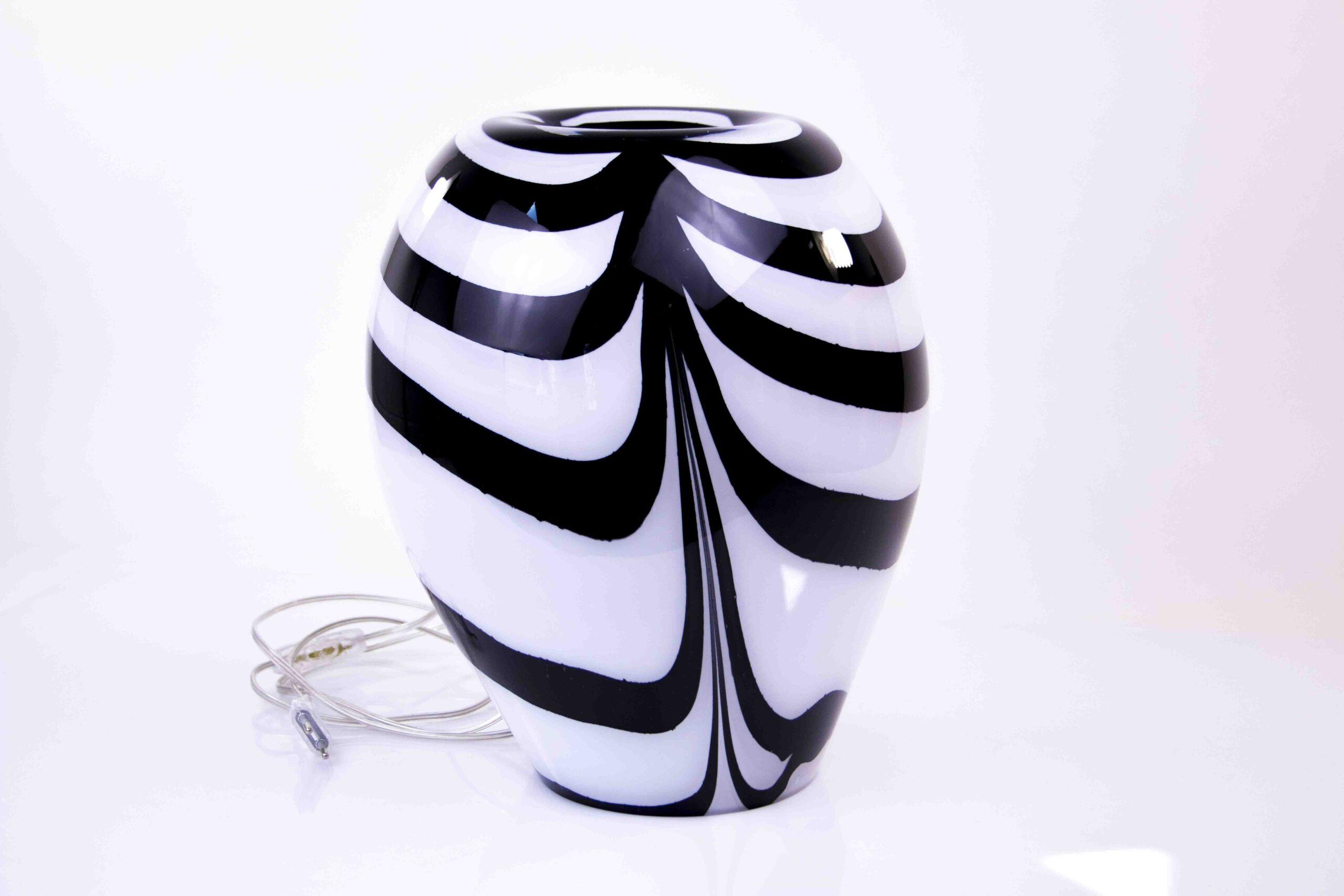 Glazen Tafellamp Zebra van Loranto