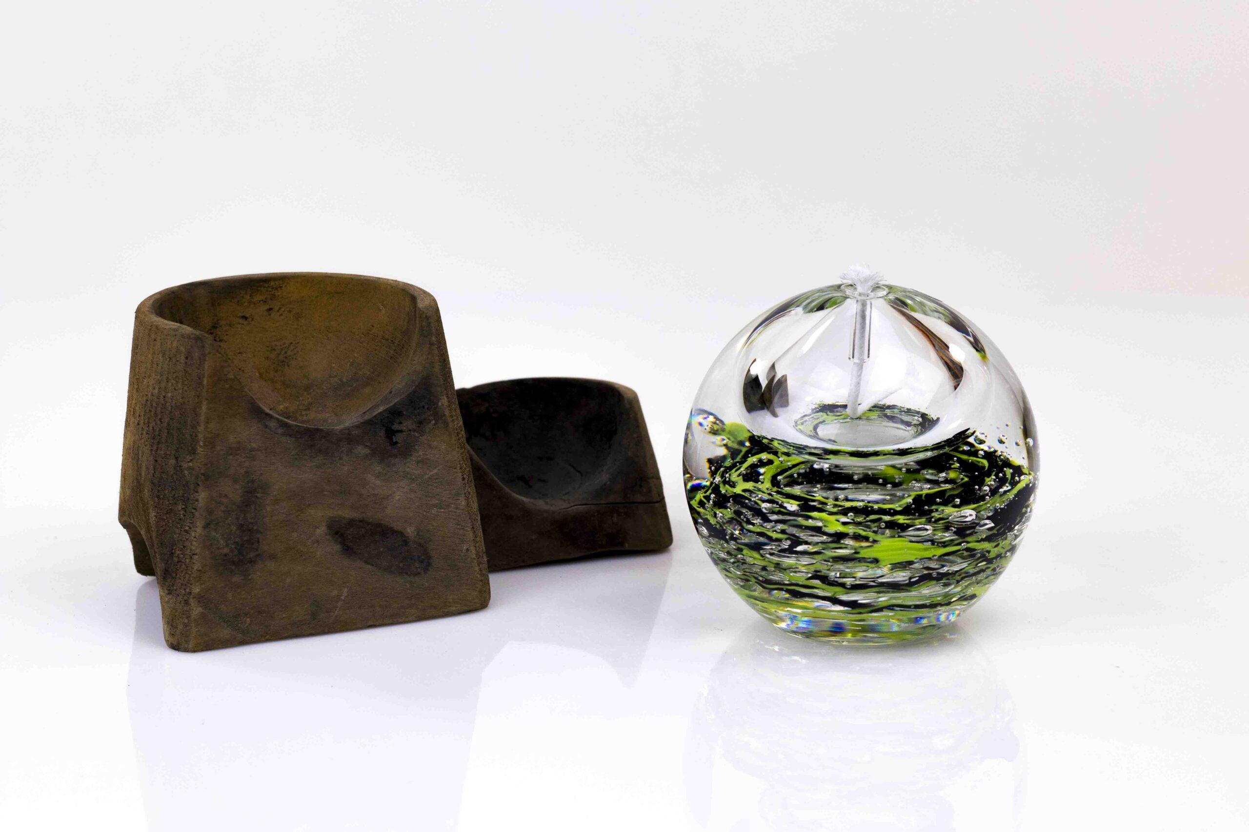 Olielamp Bol zwart groen Boheems Kristal