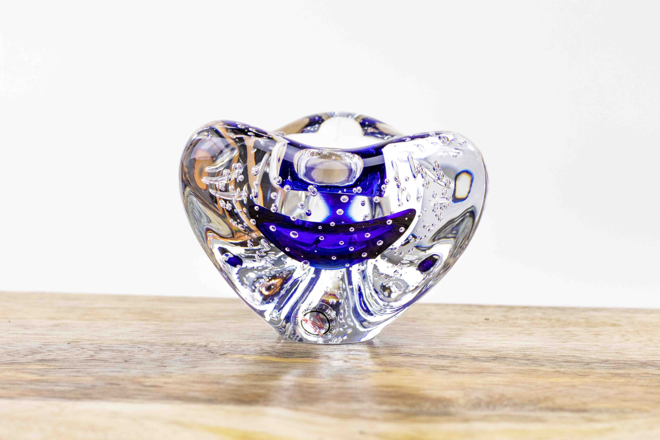 Waxinelichthouder Blauw Boheems Kristal