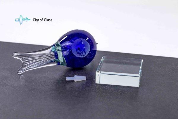 mini urn vogel blauw van loranto glas,