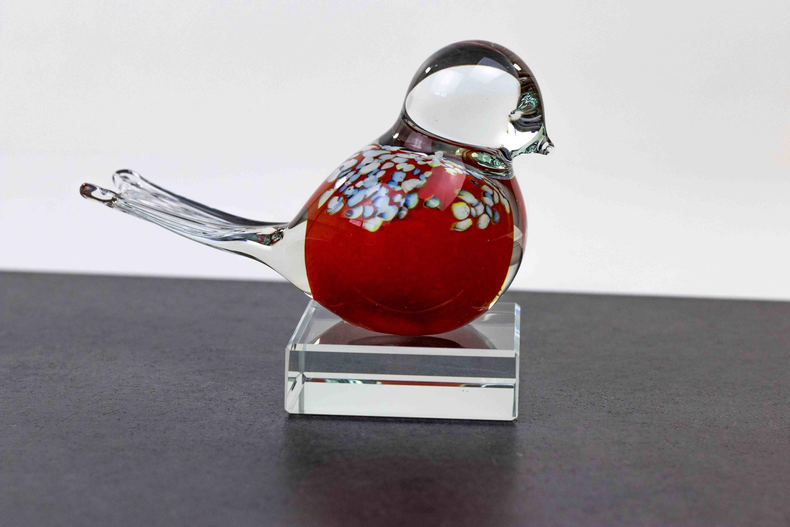 Mini Urn Vogel Rood van Loranto Glas