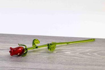 rode roos van glas 32 cm,