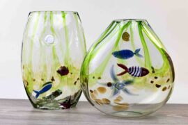 vazen met sealife mondgeblazen glas,