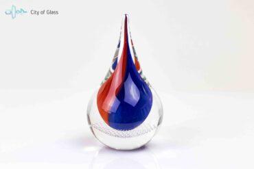 Glascadeau van Boheems Kristal Druppel Blauw Rood