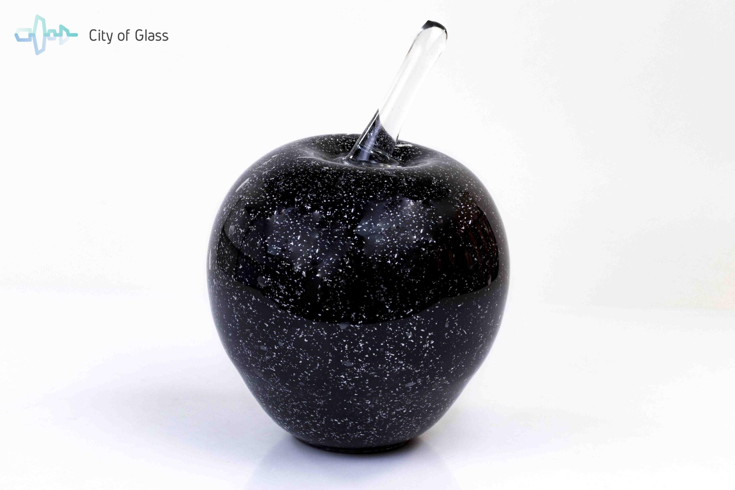 Black Apple with Silver Splinters H19 cm.