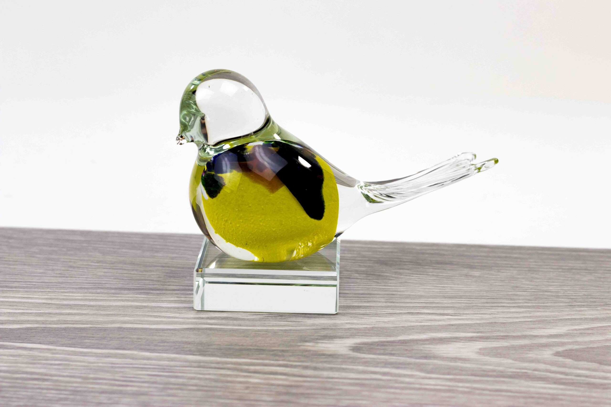 Mini Urn Vogel Geel op kristallen sokkel, Vogel Urn