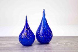 druppels blauw met bladgoud mini urn,