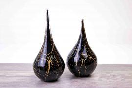 druppels zwart met bladgoud miniurn,
