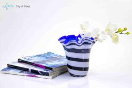 bloemenvaas zebra met blauwe loranto,
