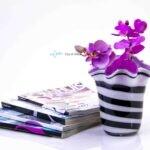 bloemenvaas zebra met paarse binnenkant loranto,