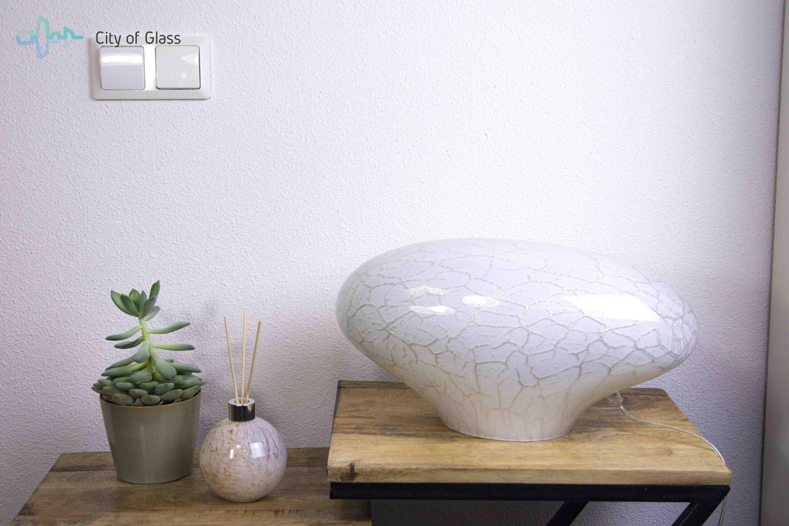 glazen lamp stone silver line,