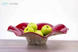 fruitschaal marmer met rood,