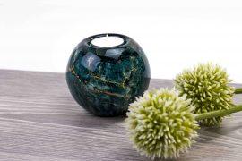 waxinelicht mini urn groen met bladgoud,