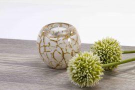 waxinelicht mini urn wit met bladgoud,