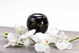 Waxinelicht nimi urn zwart met bladgoud,