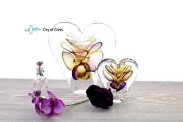 Kristallen hart Ozzaro Groot Geel Paars sfeer