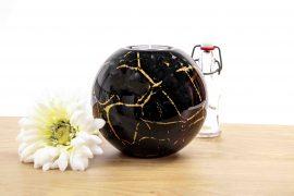 Waxinelicht mini urn zwart met bladgoud WU14